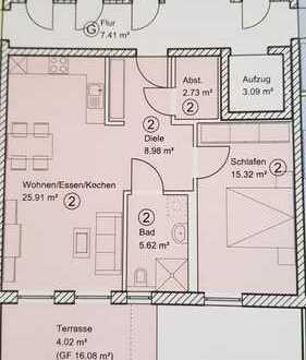 Gepflegte 2-Zimmer-SENIORENWOHNUNG mit großer Süd-Terrasse und Einbauküche in Neuburg