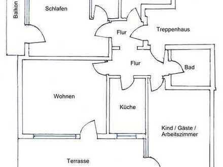 Großzügige 3,5-Zimmer-Hochparterre-Wohnung mit Terrasse und Einbauküche in Wolfratshausen