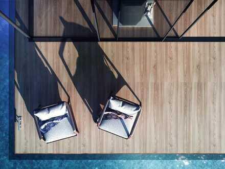 Wohnen auf dem Wasser: völlig AUTARK - u.a. mit Sauna, Einbauküche, Kaminofen und Fußbodenheizung