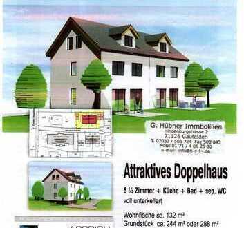 Neubau helle massive DHH in der Ortsmitte mit 5,5 Zimmer Wfl.132 m² Nfl. 45 m² mit Südgarten