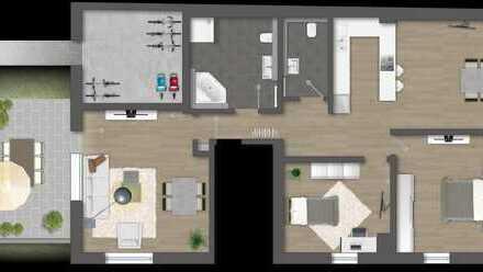 Neue 3,5 Zi.-Eigentumswohnung (EG), Altbau + Neubau mit erweiterter Wohnfläche