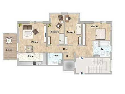 schöne große 4-Zi-Wohnung mit Balkon, Einbauküche und Tiefgaragenstellplatz, 1. Monat mietfrei
