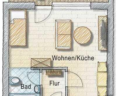 Schön sanierte 1-Zimmer-Wohnung mit Terrasse