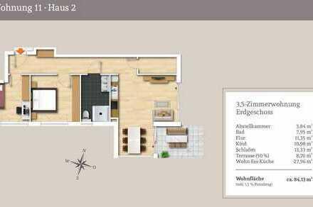 3,5.-Erdgeschosswohnung mit großer Gartenterrasse