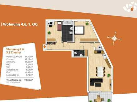 Guter Schnitt - Gute Ausstattung! 3,5-Zi.-Wohnung im 1. OG inkl. Küche und TG-Stellplatz