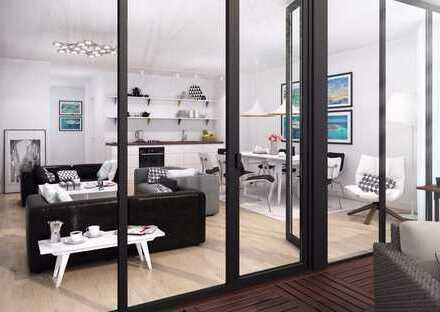 Erstbezug! Etagenwohnung im Grünen mit Balkon und Stellplatz - Loftartiges Wohnzimmer