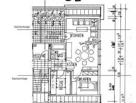 Gepflegte 2-Zimmer-DG-Wohnung mit Loggia, Fußb-Hzg. und EBK in Wiebelskirchen