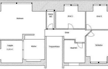 große Dachgeschoßwohnung in ruhiger Lage und guter Anbindung, 127m²