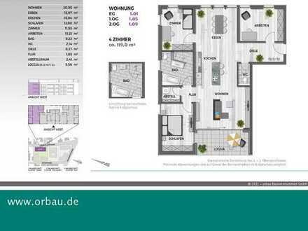 Oase Zollburg: Helle Eckwohnung und gleich am Eingang könnte das Büro untergebracht werden...
