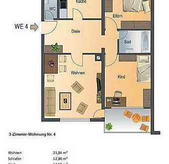 Hochwertige 3-Zimmer Wohnung im 1. OG mit Balkon