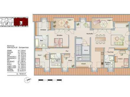 5-Zi-Penthaus-Wohnung mit 3 Bädern, Dachterrasse, TG