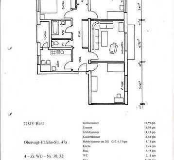 Attraktive 4-Zimmer-Wohnung mit Balkon, Loggia, Garage und EBK (optional) in Bühl