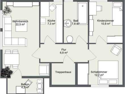 Vollständig renovierte 3-Zimmer-Wohnung mit Sonnen-Balkon in Zella-Mehlis, Herrlicher Blick
