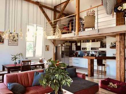 Einzigartiges, geräumiges Maisonette-Loft mit Balkon und Fußbodenheizung