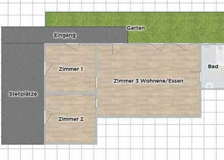 Schöne komplett sanierte 3 Zimmer EG Wohnung mit Garten
