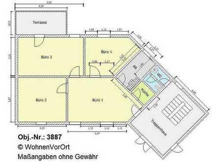 Büroeinheit m. 4 Zi. im EG in Bürohaus, Terrasse, kl. Teeküche, sep. WC, Stellpl., Lagerfläche, ca