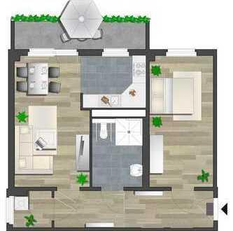 Erstbezug in rollstuhlgerechte 2-Raum-Wohnung