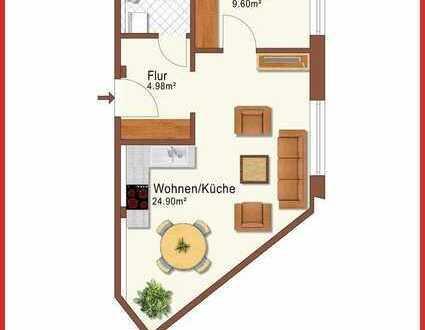 Barrierefreie 2-Raum-Wohnung mit Einbauküche