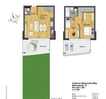 Verkauft!! Traumhafte 3- Zimmer Maisonette-Wohnung ( Haus 2, Whg. 12 )