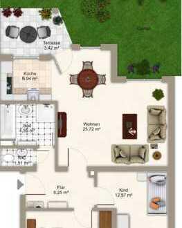 ***Schöne 3-Zimmer-Wohnung mit Terrasse und Garten zu vermieten***
