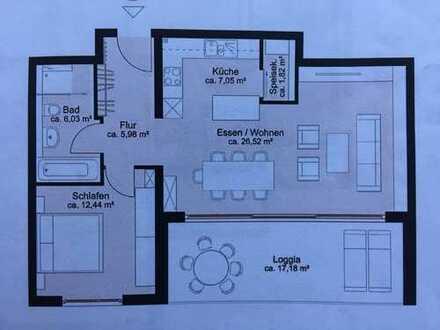 Moderne, neuwertige 2-Zimmer-EG-Wohnung mit Balkon und EBK in Bretten