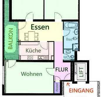 3 1/2 Zimmer, Ost- und Südbalkon, ca. 98 m², ruhig, STRABA, TG