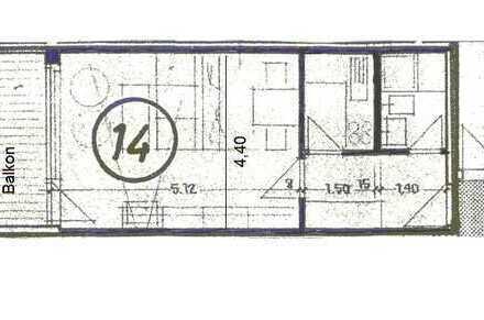 1-Zimmer-Appartement mit Balkon, Küche u. Duschbad