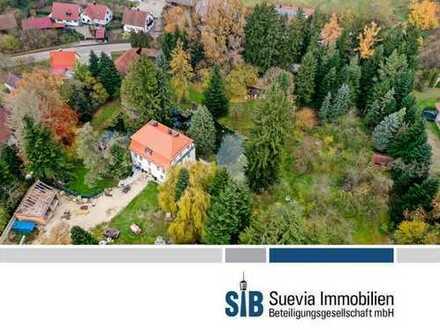 Repräsentative 380 m² Wasserschloss mit 3 Bauplätzen für EFH auf einem ca. 9765 m² Grundstück