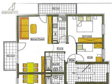 3-Zi.-Wohnung - renoviert - zentrumsnahe - ruhige Lage - Einbauküche - 2 Balkone - sofort verfügbar