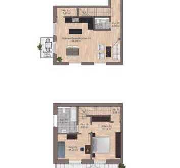 Hochwertig ausgestattete Etagenwohnung auf 2 Etagen mit Balkon u. Terrasse