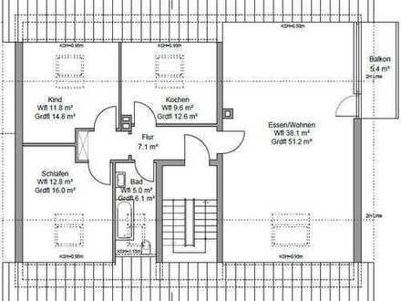 Erstbezug nach Kernsanierung: exklusive 3-Zimmer-DG-Wohnung mit Einbauküche und Balkon in Karlsruhe