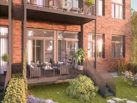 Hochwertig ausgestattete Wohnung im Erdgeschoss mit Balkon und großen Gartenanteil
