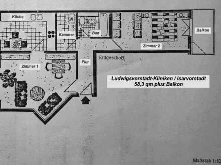 2,5-Zi-Wohnung mit Balkon - Zentral und ruhig - VON PRIVAT