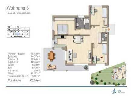 Neubau Erdgeschosswohnung mit 372 qm Garten in Erdmannhausen