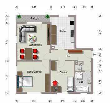 Günstige, gepflegte 3-Zimmer-Wohnung mit Balkon in Marxzell