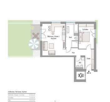 Neubau in Göggingen! - exkl. 2 Zi-Terrassen-Whg. mit Garten in sonniger Lage! Zentrums nah!