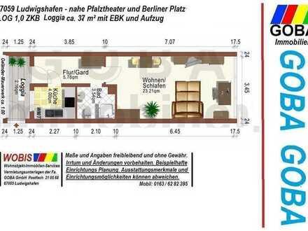 Lu-City - 01.06.21 helle 1,0 ZKB 37 m² sep. Küche mit EBK, Wohn-u. Arbeitsber.+Loggia Nähe Pfalzbau