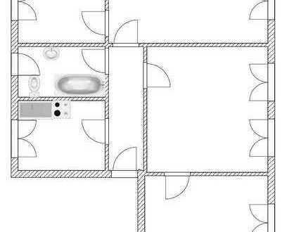 4-Raum-Whg im Erdgeschoss mit modernisiertem Bad, E-Herd und Spüle