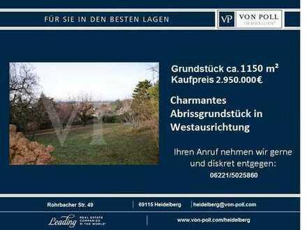 Charmantes Abrissgrundstück in Westausrichtung mit Blick über Neuenheim und der Rheinebene