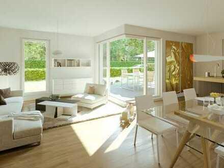 Neubau-Gartenwohnung + großer Hobbyraum + weitläufiger Terrasse + priv. Gartenanteil