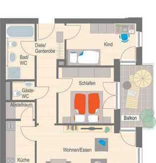 Erstbezug - 3 1/2 Zimmer Wohnung mit Balkon für Single und Pärchen!