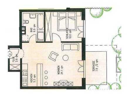 1,5-Zimmer Erdgeschosswohnung mit kleinem Garten!