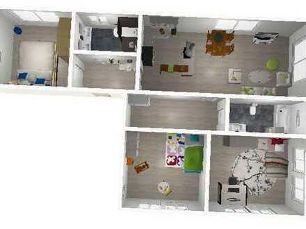 Helle, große und renovierte Wohnung mit Holzdielen und zwei Bädern