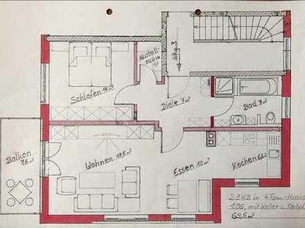 Zentrumsnahe 2-ZKB Wohnung im 1.OG, 69,5qm, Erstbezug