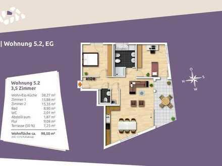 Lichtdurchflutete 3,5-Zi.-EG Wohnung mit Privatgarten in ruhiger Wohnlage
