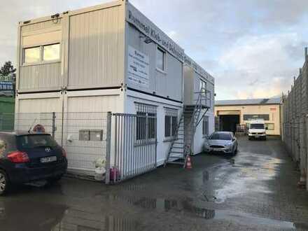 Gewerbehalle mit Bürocontainer und Solaranlage voll vermietet nur für Kapitalanleger