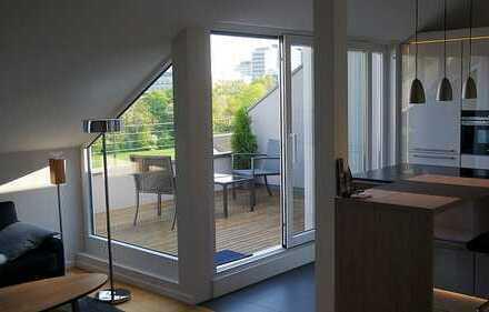 All-inclusive: voll möblierte 2-Zimmer Wohnung mit tollem Blick auf die Skyline und auf Taunus