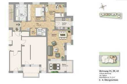+ Großzügige 3-Zimmer Wohnung mit sonnigem Balkon, 2 Bädern, Fußbodenheizung etc. +