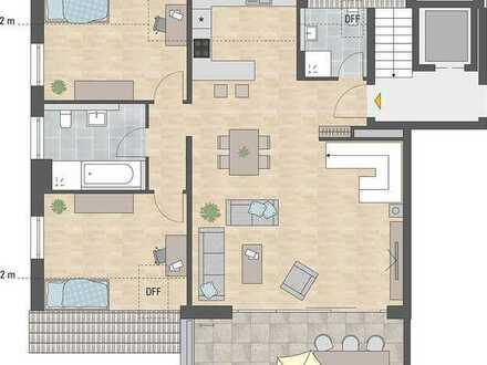 4-Zi-Whg. auf 2 Etagen + sonniger Dachterrasse Süd/Süd-West - A/W9