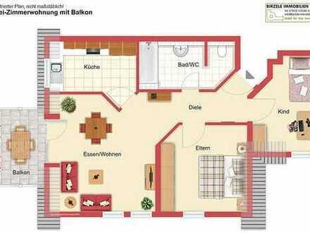gemütliche Wohnung im Dach, 3 Zimmer, Balkon, TG, Hausmeisterservice